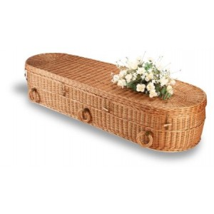 Premium Wicker / Willow Imperial Oval Coffin. Please call for best prices